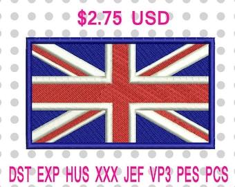 Union Jack British United Kingdom Flag Machine Embroidery Design 3 Sizes-INSTANT DOWNLOAD