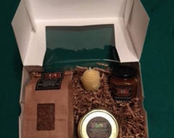 Premium Selections Gift Box - Chaga Tea, Beehive Votive Candle, Jar Spruce Tip Jelly, Jar of Raw Honey
