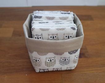Washable cleansing squares + owls basket