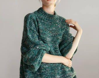 Clothing-gift Turtleneck sweater Loose knit Chunky sweater Knitted sweater women Alpaca sweater Oversized Boho sweater Cozy merino sweater