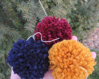 Navy Blue, Gold, and Maroon Pom Pom Garland