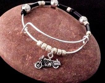 Motorcycle Bracelet, Biker Bracelet, Gift for Biker,  Motörhead Gift, Unisex Bracelet, Rocker Gift, Rubber Bracelet, Black and Silver