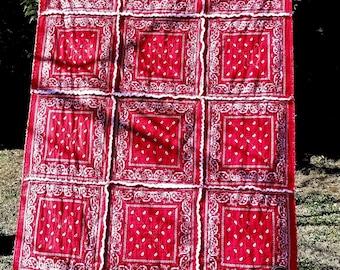 Red Bandanna Rag Quilt Georgia