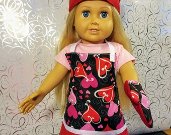 18 Inch Doll Clothes Accessories- Chef set- Apron, Hat, Oven Mitts Valentines and Christmas