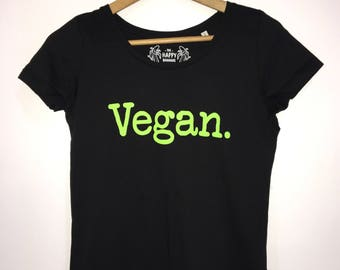 Vegan Slogan Statement T-shirt, Organic Cotton, Ladies Black