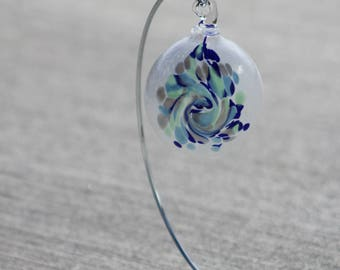 Hand Blown Glass Ornament - White with Baby Blue and Green, and Cobalt Blue Twist