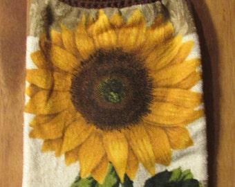 Handmade crocheted towel topper Sunny Sunflower