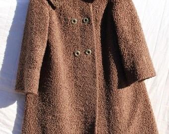 Brown Faux Fur Coat - Sz M