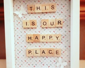 This is our Happy place Scrabble Frame