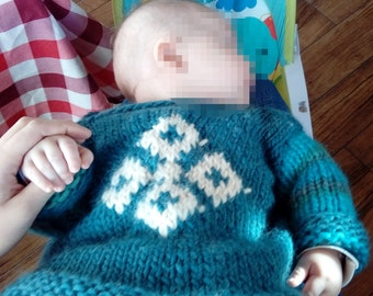 warm hand-knit baby sweater 100% natural wool