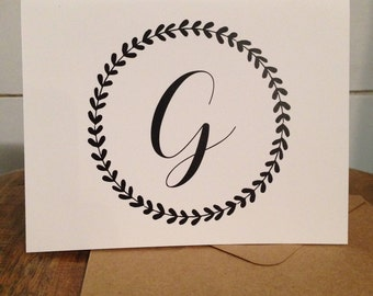Folded Wreath Initial Note Cards