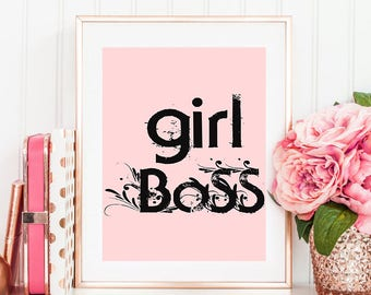 girl boss wall art pink, pink wall art nursery, girl office decor, girl room wall decor, girl boss wall art, girly quote print, pink girls