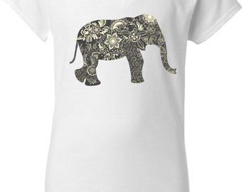 Elephant Mandala DTG Girly Tee