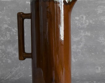 Van Briggle Pottery Pitcher - Tall Brown with Green Drip Glaze
