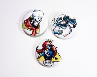 3 badges - Papyrus / without / Undyne - Undertale