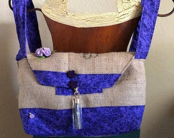 Re-Purposed Guatemalan Coffee Bag Purse, Purple