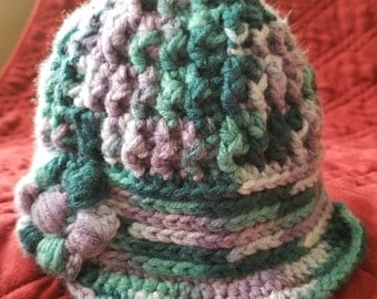 Multi colored crocheted hat, toddler size