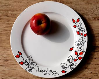 Rosehip porcelain plate hand painted