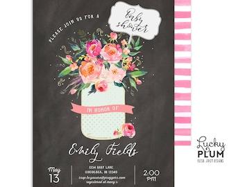 Chalkboard Floral Baby Shower Invitation / Couples Baby Shower Invitation / Rustic Baby Shower Invitation / Mason Jar Baby Shower Invitation
