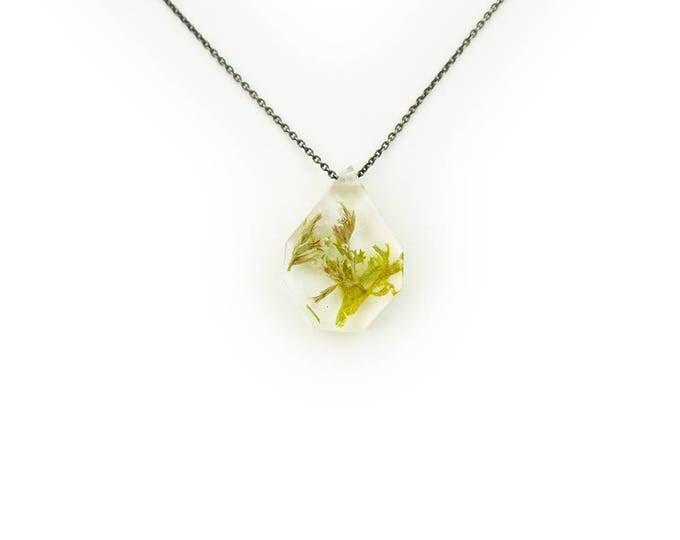 Medium Terrarium and White Flower Eco Resin Necklace