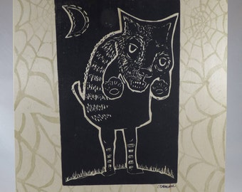 Zombie Cat one of a kind linocut on wood