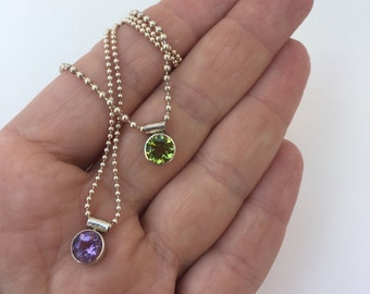 Small Peridot Necklaces. Small Amethyst Necklace. Peridot Necklace. Amethyst Necklace. Small Sterling Necklaces. Delicate Necklace. Peridot