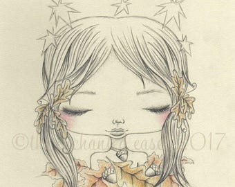 Fall Drawing, Girls Room, Whimsical, Girls Wall Art, Original Drawing, Leaves, Acorns, Pencil, Colored Pencil, Portrait, Graphite, Autumn