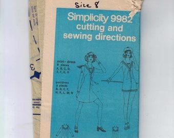 1970s Vintage Sewing Pattern Simplicity 9982 Misses Nautical Sailor Mini Dress Pantsdress Jumper Size 8 Bust 31 1/2 1972 70s UNCUT