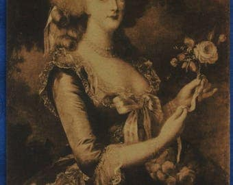 Art Portrait Marie Antionette of Austria Queen France Vigee-Lebrun French Antique Postcard Versailles Museum