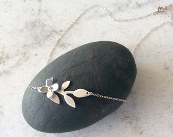 Sterling Silver Flower and Branch Necklace