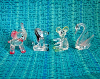 Four Kitsch Plastic Animals - Clear 'Crystal Pets' Novelty Animals - Perspex Elephant, Mouse, Swan, Dog