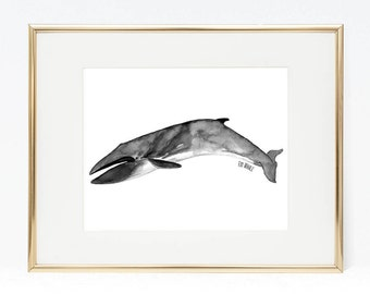 Watercolor Whale Painting - Whale Print for Nursery, Whale Art Print, Whale Art, Home Decor, Nautical Decor, Whale Print Set