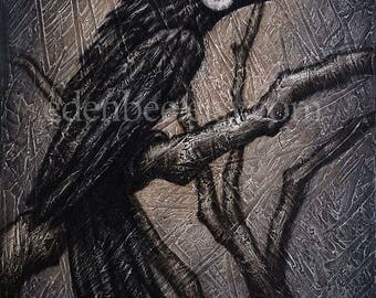 "Black Bird XXXVIII acrylic and mixed media on canvas by Eden Bachelder, 20"" x 16"", crow, raven, grackle"