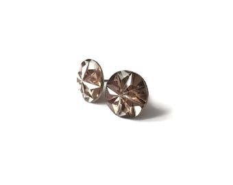 Champagne faceted stud earrings - Hypoallergenic pure titanium and resin