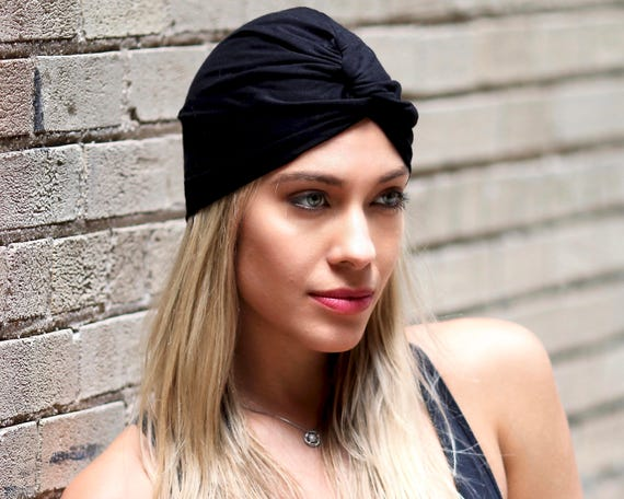Wool Turban Hat Black Stretch Turban Chemo Turban Gift For Her Women's Gift Fall Accessory Packable Chemo Hat Warm Turban Wool Hat