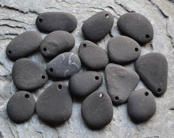Natural Beach Stone Beads, Black, Drilled Beach Stones, Rock Zen Beads Earth Charms
