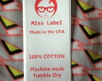 New! RED printed 100 sew-in soft Satin Clothing labels custom printed in USA
