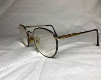 1980s Brooks Brothers Round Eyeglasses with Thin Metal Gold Frames with Tortoiseshell Enamel - PRESCRIPTION
