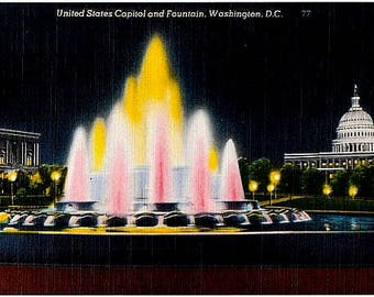 Washington DC Vintage Postcard - The US Capitol Building and Fountain by Night (Unused)