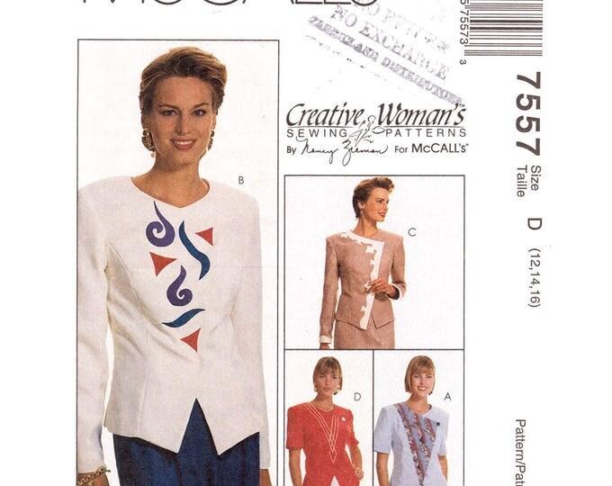 Womens Jacket Pattern McCalls 7557 Princess Seams Lined Unlined Long Sleeve Size 12 14 16