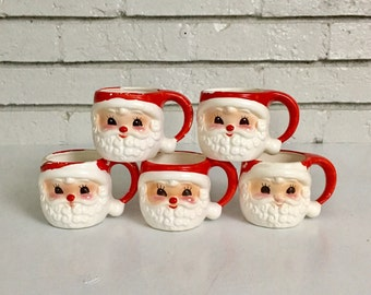 Vintage Set of 5 Santa Claus Mug Set // Japanese Ceramic Santa Cups // Vintage Retro Christmas Holiday Decor