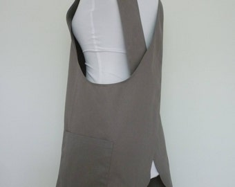 Gray Twill Cross-back Japanese Apron, Japanese Apron, Pinafore Japanese Apron