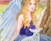 The Lamb and the Angel ACEO Miniature Watercolor Painting