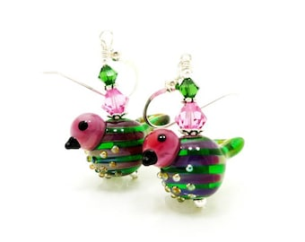 Bird Earrings, Pink Green Earrings, Lampwork Earrings, Glass Bead Earrings, Nature Earrings, Glass Earrings, Unite Earrings, Cute Earrings