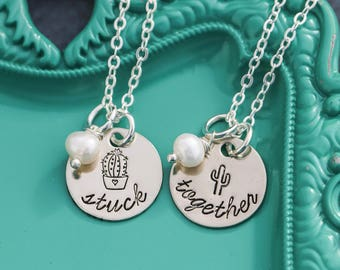 Best Friend Necklaces Cactus Jewelry • Succulent Necklace • Cute Friend Quote • Stuck Together Friend Jewelry •BFF Necklace Best Friend Gift