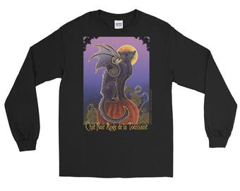 Halloween Bat Winged Black Cat Long Sleeve T-Shirt
