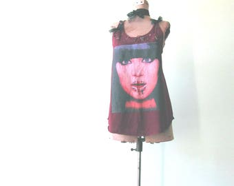 Punk Tee Shirt, Tattered Tank Top, Upcycled Clothing, Face Shirt with Holes, Safety Pin Tshirt, Punk Rock Womens Clothes, Union Jack T Shirt