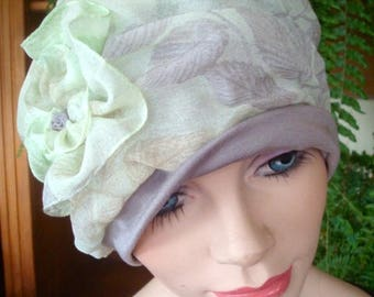 womens hat chemo hats soft hat pale green taupe cloche turban chemo headwear gift summer
