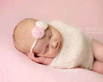 ivory and pink baby headband, newborn headband, baby headband