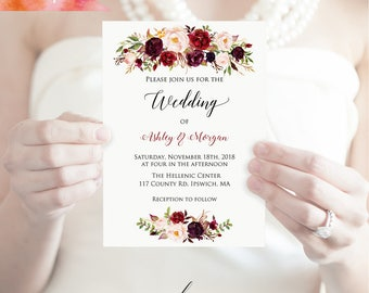 Printable Burgundy Floral Wedding Invitation, Editable PDF Template, 5x7 Rustic Boho Wedding Invites, vistaprint, DIY Instant Download #01